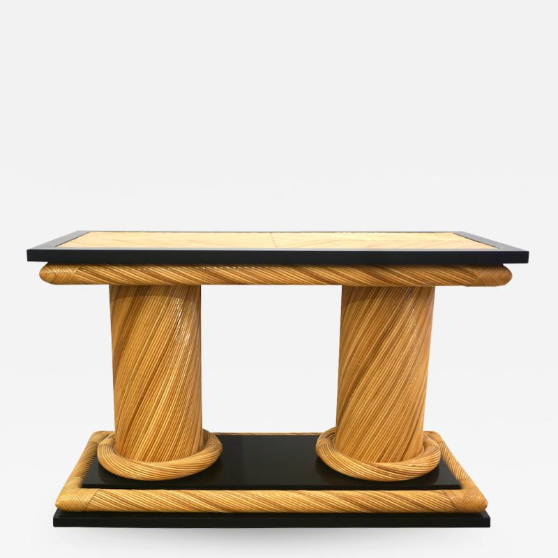 Howard Dilday 1970s Howard Dilday Organic Rattan Console Table with Black Lacquer Border