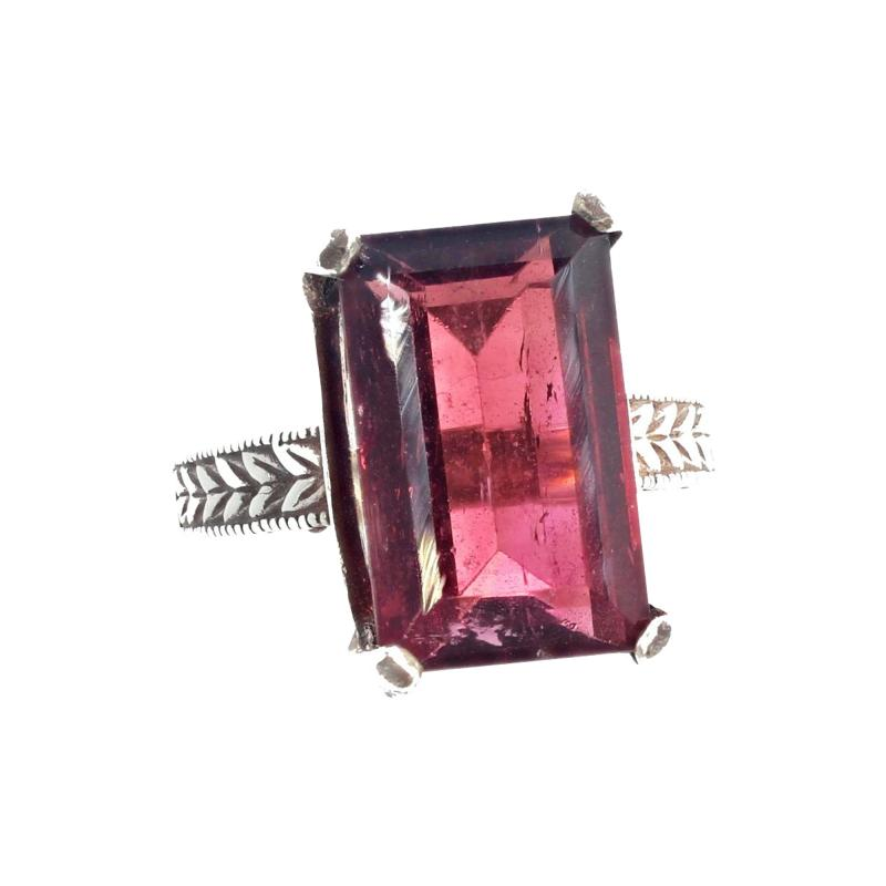 Huge 14 Carat Pinky Red Tourmaline Sterling Silver Ring