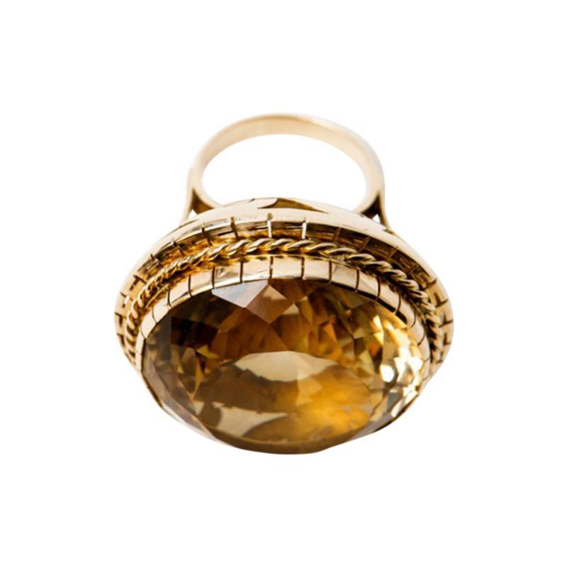 Huge Retro 99Ct Citrine Ring 1950s 14k Gold