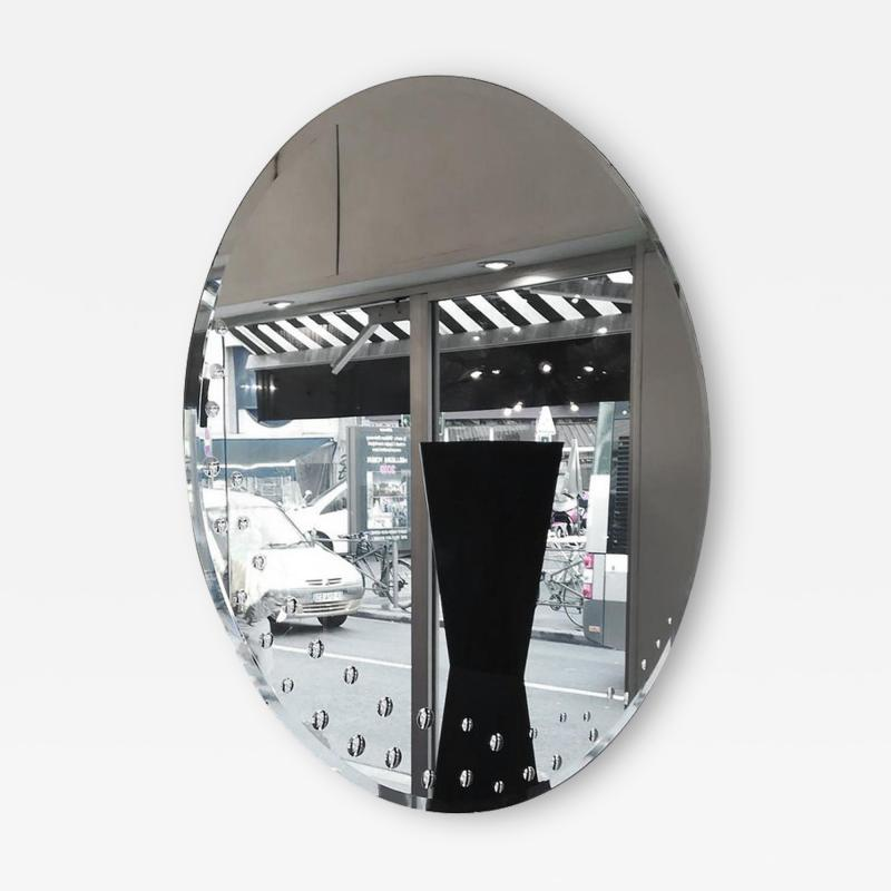 Huge Round Italian Mirror circa 1970 with Bubles Decor