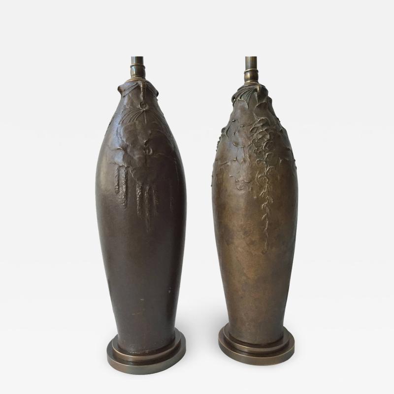 Hugo Elmquist Almost a Pair of Bronze Lamps by Hugo Elmquist circa 1900