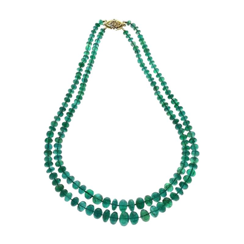 IMPRESSIVE EMERALD BEAD YELLOW GOLD NECKLACE
