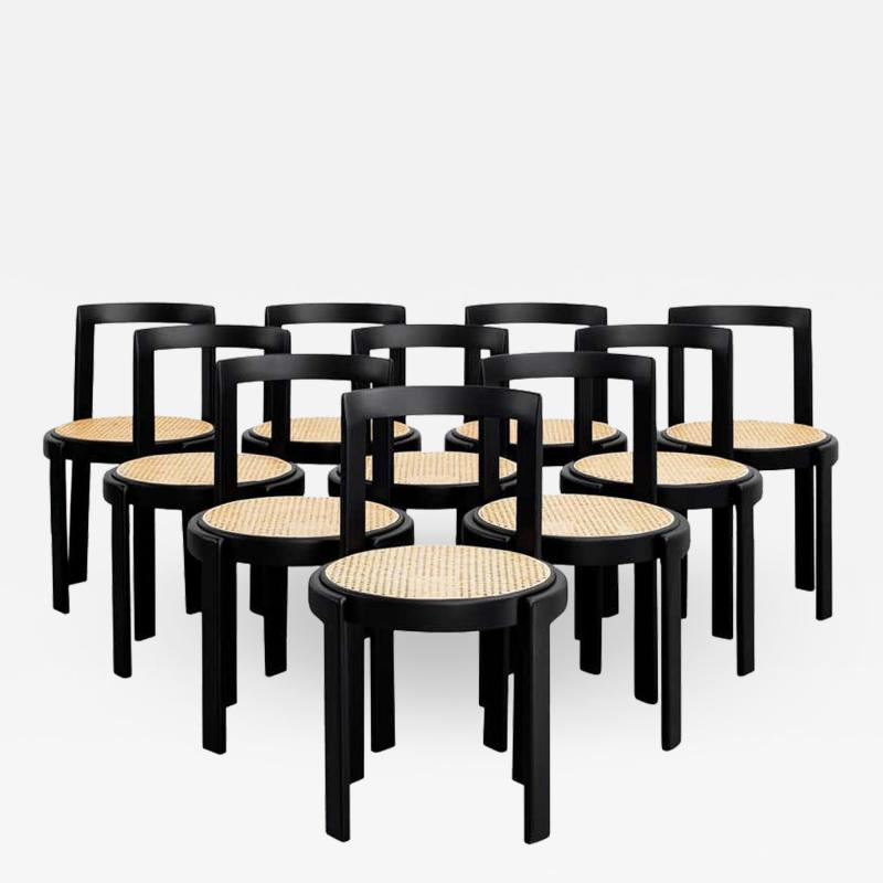 ITALIAN BENTWOOD CANED CHAIRS SET OF 10