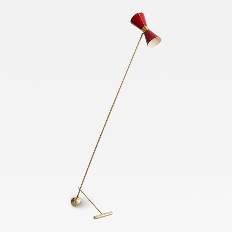 ITALIAN FLOOR LAMP WITH RED METAL SHADE