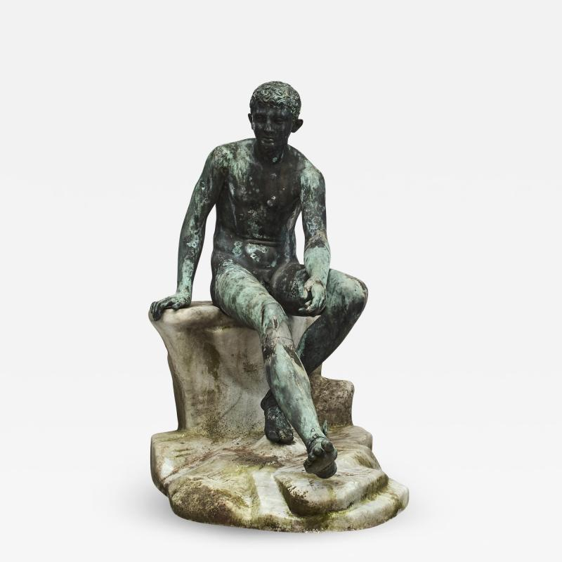 ITALIAN GRAND TOUR GREEN BRONZE SCULPTURE OF THE SEATED HERMES