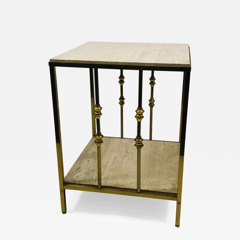 ITALIAN TRAVERTINE AND BRASS MODERNIST TABLE