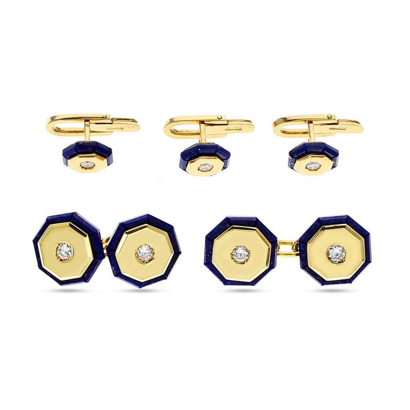 ITALY STAMPED LAPIS AND GOLD DRESS SHIRT PINS AND CUFFLINK SET 18K YELLOW GOLD