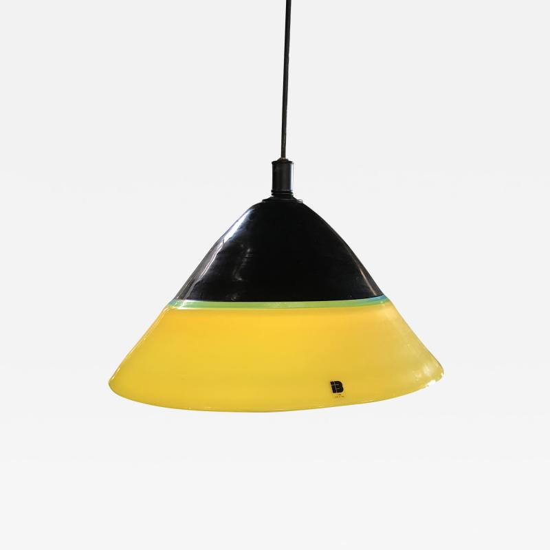ITRE I TRE Murano Glass Pendant in Yellow Color with Black Metal Italy 1980s