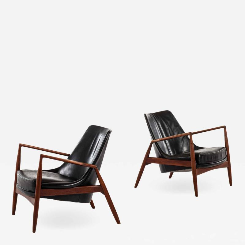 Ib Kofod Larsen Easy Chairs Model S len Seal Produced by OPE