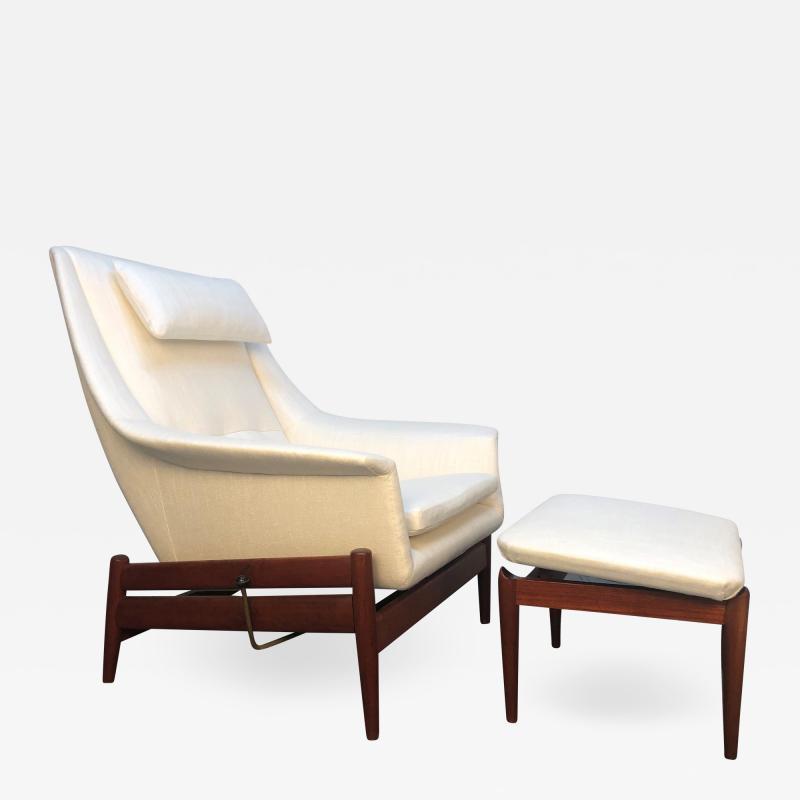 Ib Kofod Larsen Ib Kofod Larsen for Povl Dinesen Danish Lounge Chair and Ottoman