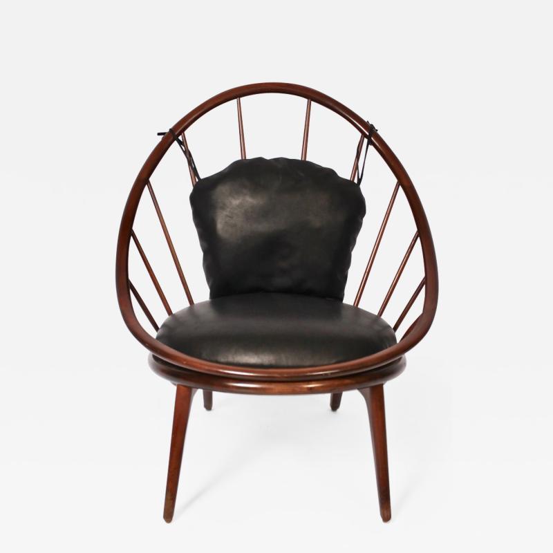 Ib Kofod Larsen Ib Kofod Larsen for Selig Dark Walnut Black Leather Hoop Chair circa 1960