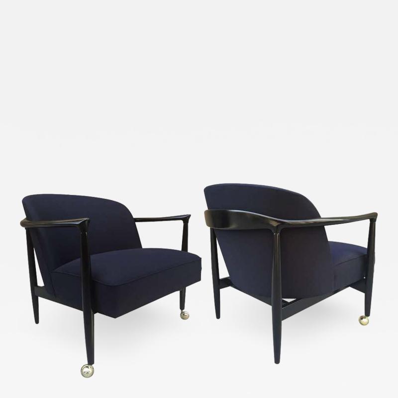 Ib Kofod Larsen Pair of Sculptural Ib Kofod Larsen Lounge Chairs