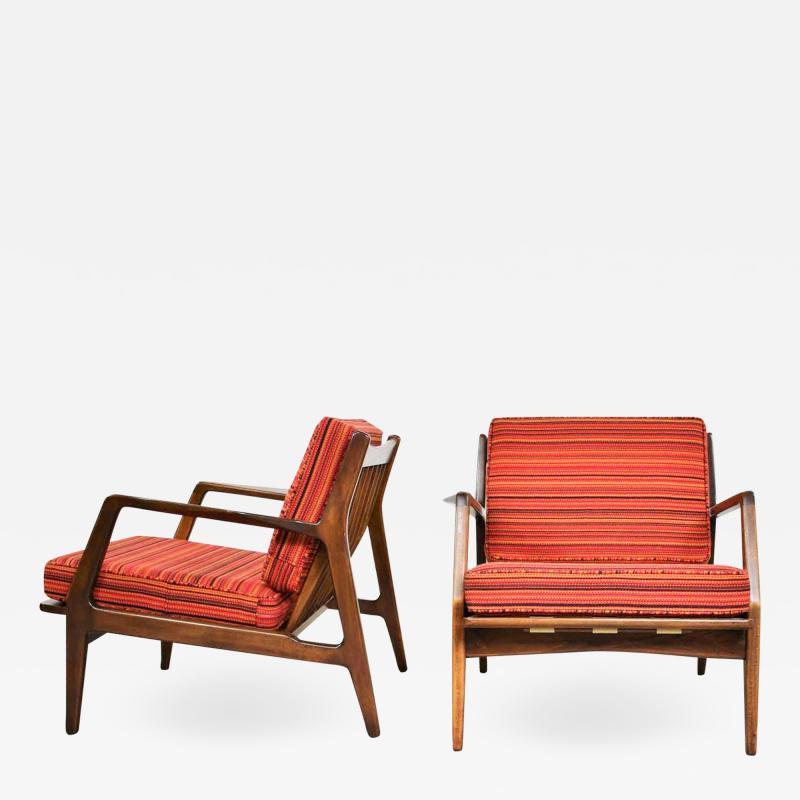 Ib Kofod Larsen Scandinavian modern ib kofod larsen lounge chairs for selig in red stripe fabric