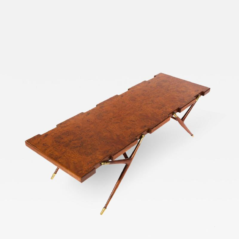 Ico Parisi Burl Walnut and Brass 1950s Coffee Table by Ico Parisi for Singer and Sons