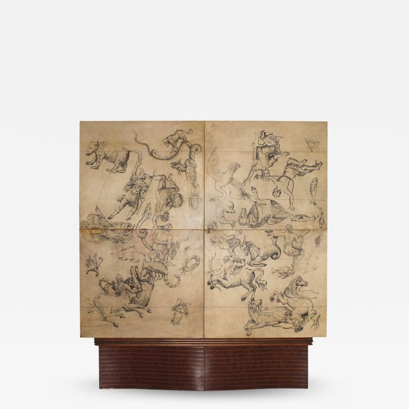 Ico Parisi Cabinet Bar in parchment and wood by Ico Parisi for Daghia circa 1940