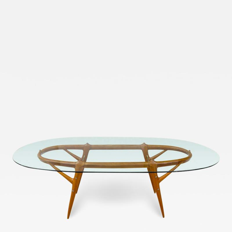 Ico Parisi Italian Walnut and Brass Dining Table Italy style of Ico Parisi circa 1955