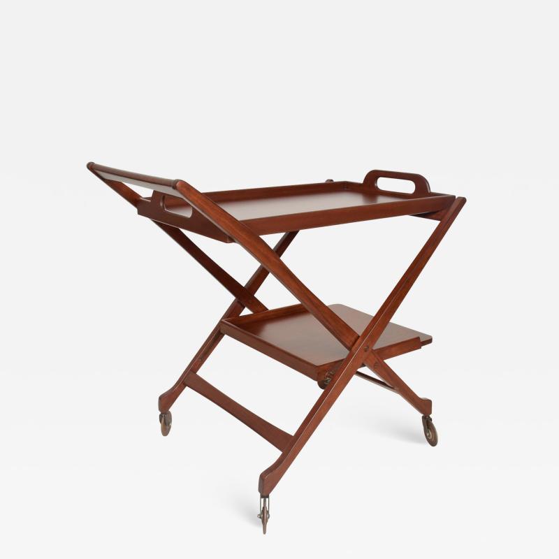 Ico Parisi Manner of Ico Parisi Modern Mahogany Wood Folding Service Cart Trolley Bar Italy