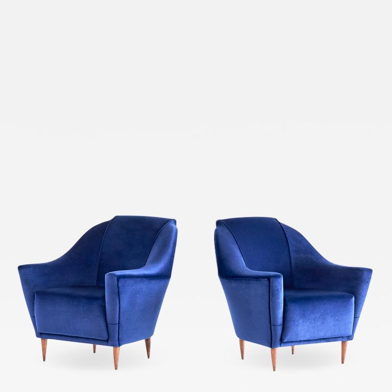 Ico Parisi Pair of Ico Parisi Armchairs in Blue Mohair Velvet 1951