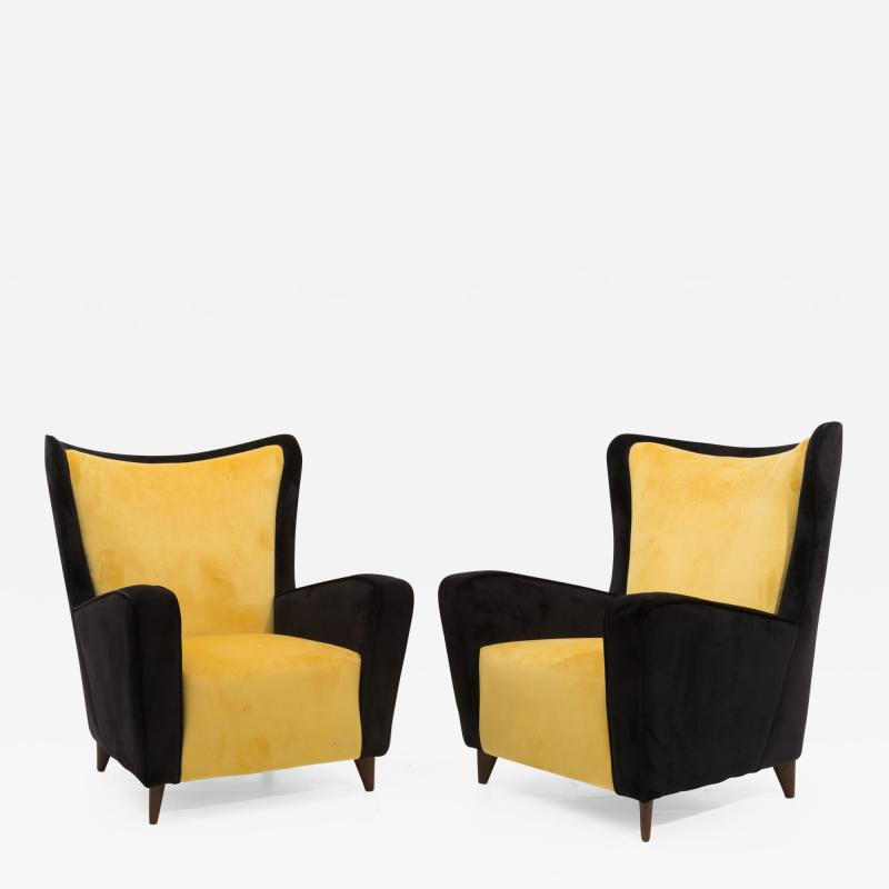 Ico Parisi Pair of Italian amrchairs attributed to Ico Parisi in black and yellow Velvet