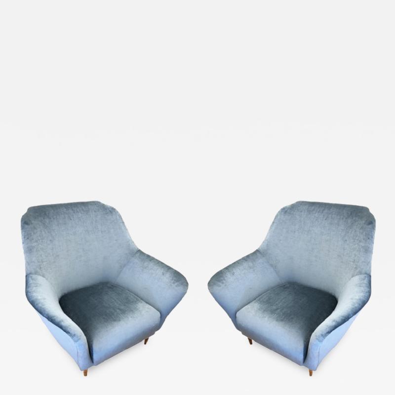 Ico Parisi Pair of Large Armchairs Attributed to Ico Parisi