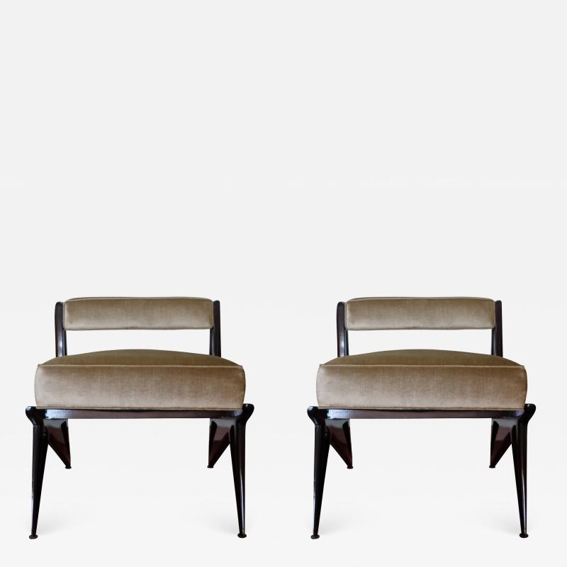 Ico Parisi Pair of Modernist Armchairs in Pale Green Velvet Attributed to Ico Parisi 1950