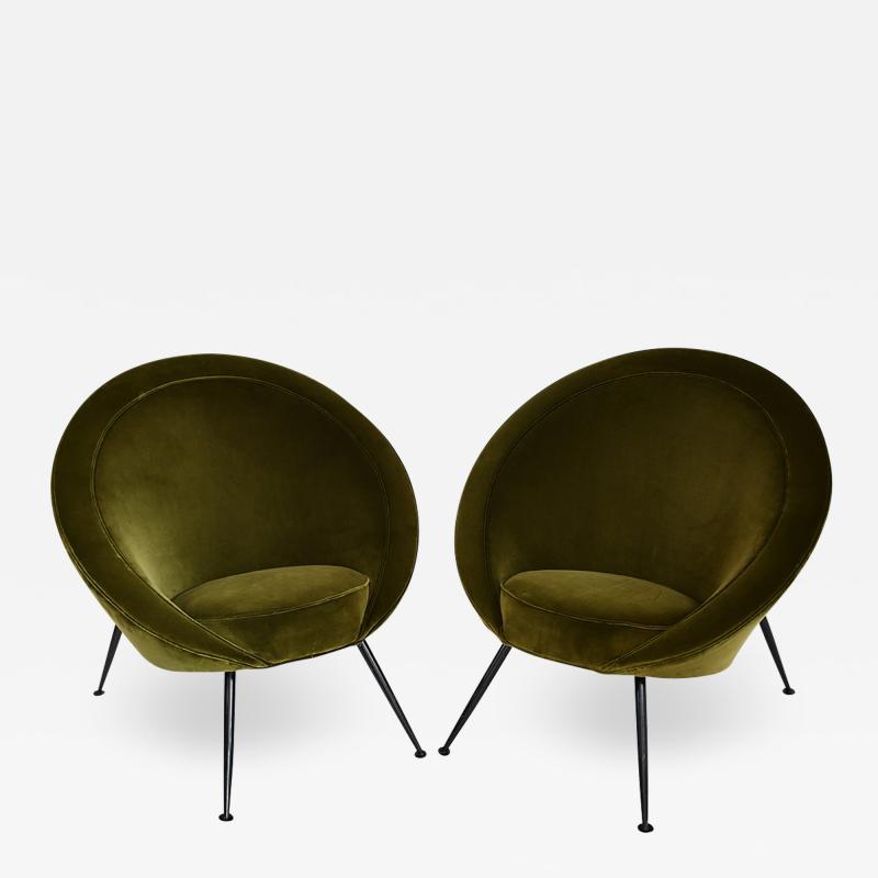 Ico Parisi Pair of egg chairs