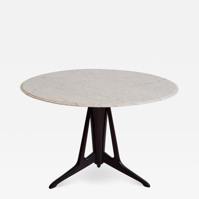 Ico Parisi Round Ebonized Wood Table with Marble Top