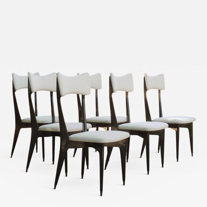 Ico Parisi Set of Six Ebonized Dining Chairs Attributed to Ico Parisi