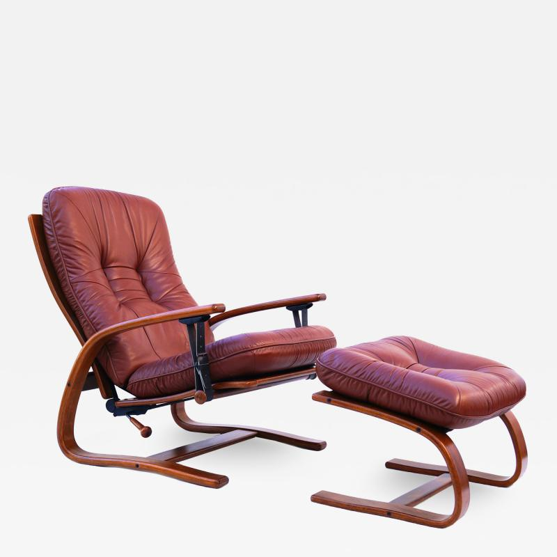 Igmar Relling Mid Century Westnofa Leather Reclining Lounge Chair and Ottoman Ingmar Relling