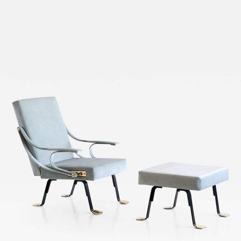 Ignazio Gardella Ignazio Gardella Digamma Lounge Chair and Ottoman in Turquoise Donghia Velvet
