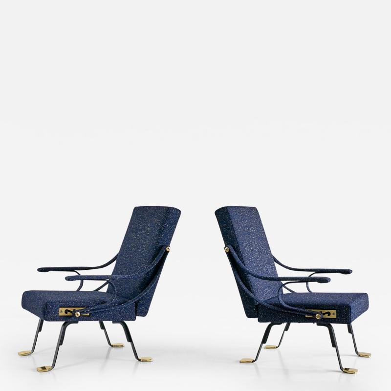 Ignazio Gardella Pair of Ignazio Gardella Digamma Armchairs in Navy Raf Simons for Kvadrat Fabric