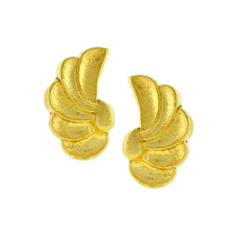 Ilias Lalaounis Ilias Lalaounis Whimsical Hammered Gold Wing Motif Earrings