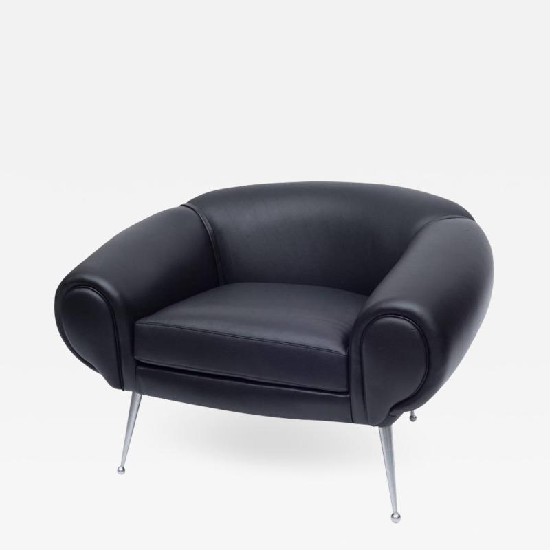 Illum Wikkels Black Leather Lounge Chair by Illum Wikkels Denmark 1960s