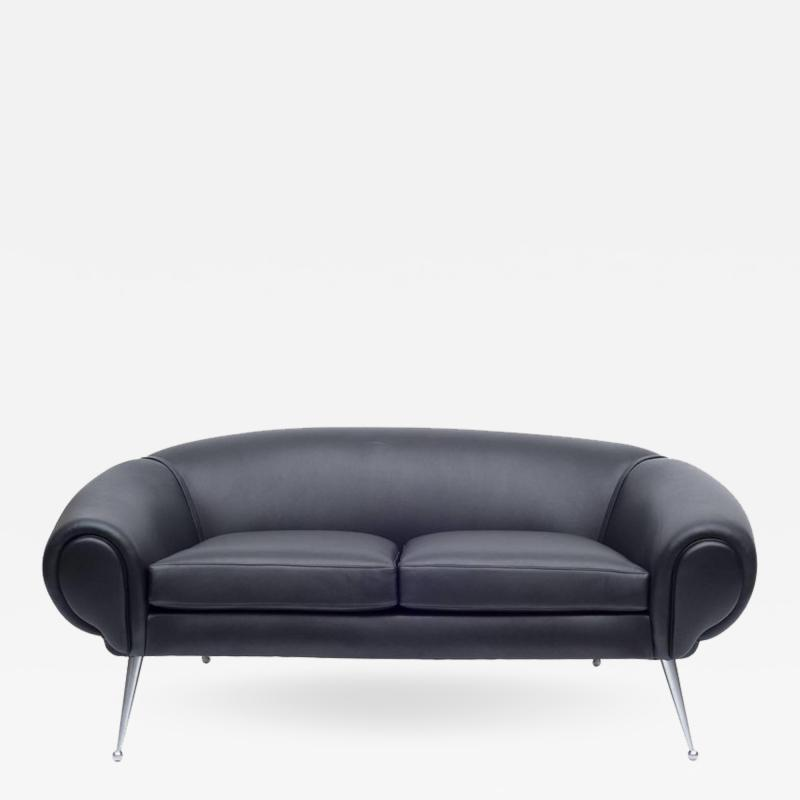 Illum Wikkels Black Leather Sofa by Illum Wikkels Denmark 1960s