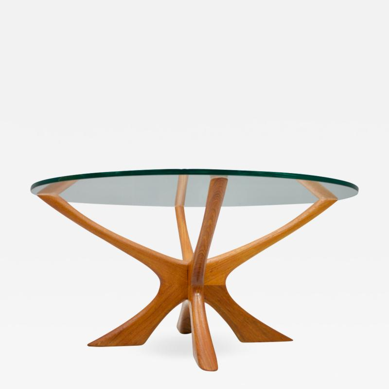 Illum Wikkels Coffee Table in Teak and Glass by Illum Wikkelso Denmark 1958
