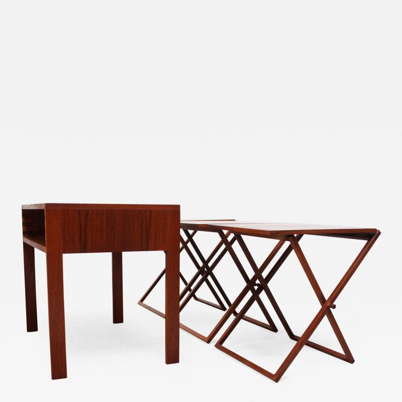 Illum Wikkels Nest of Three Teak Folding Tables by Illum Wikkels