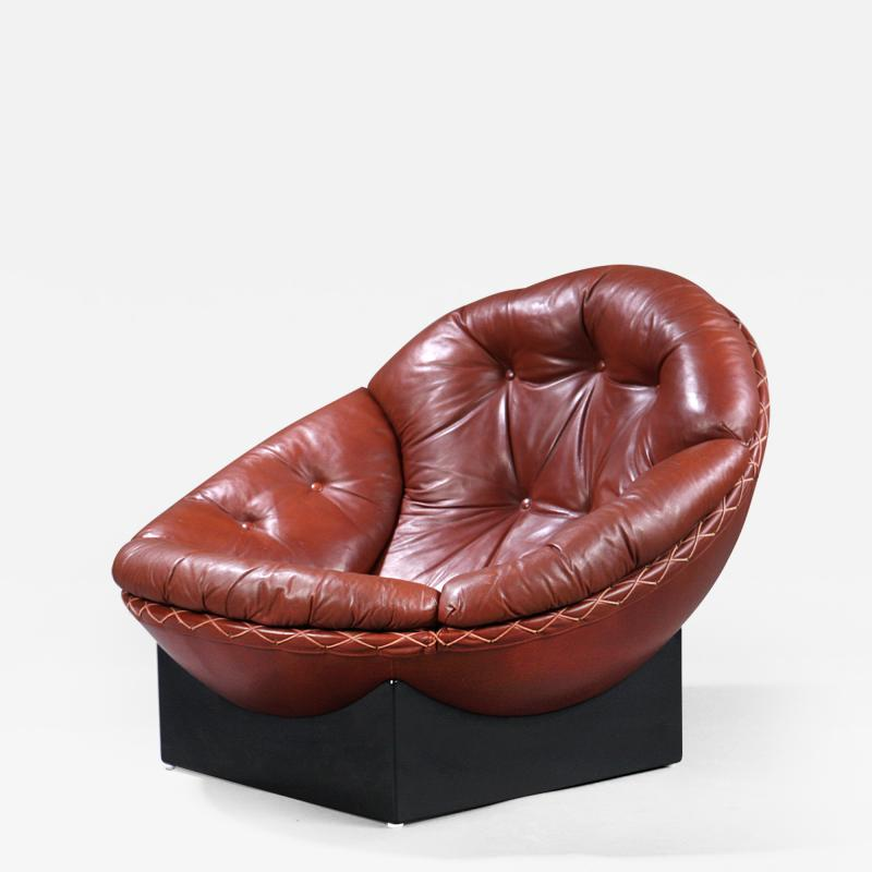 Illum Wikkels Rare Leather Lounge Chair by Illum Wikkelso 1970