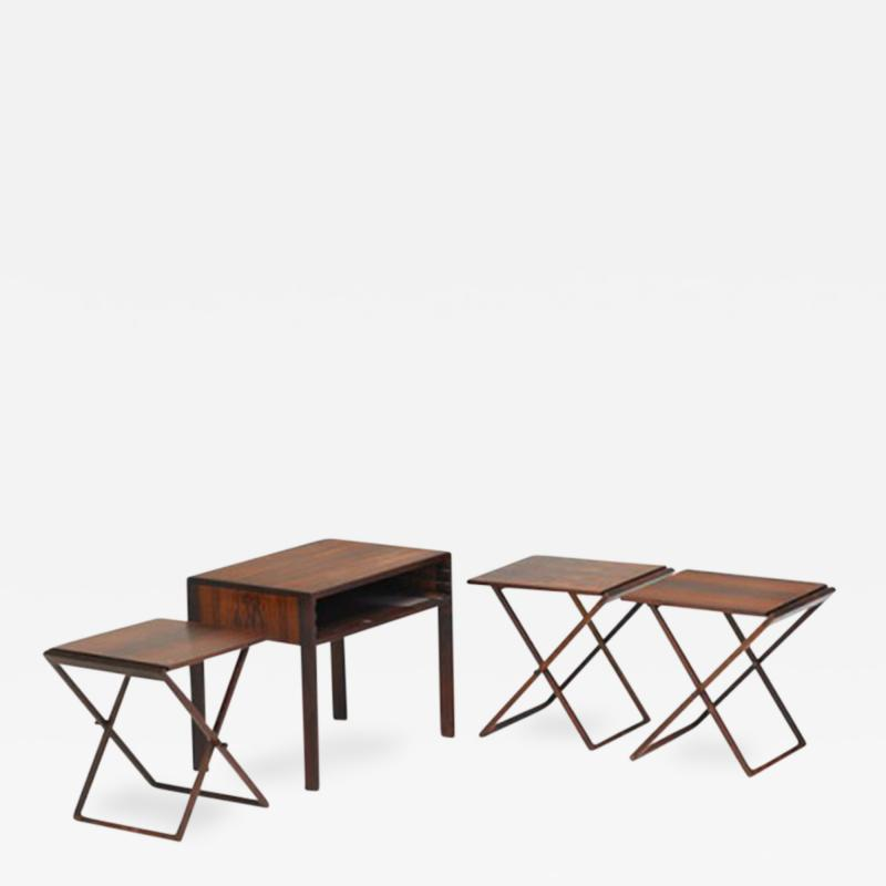 Illum Wikkels Set of Three Folding Tables Stored in Side Table Denmark 1960s