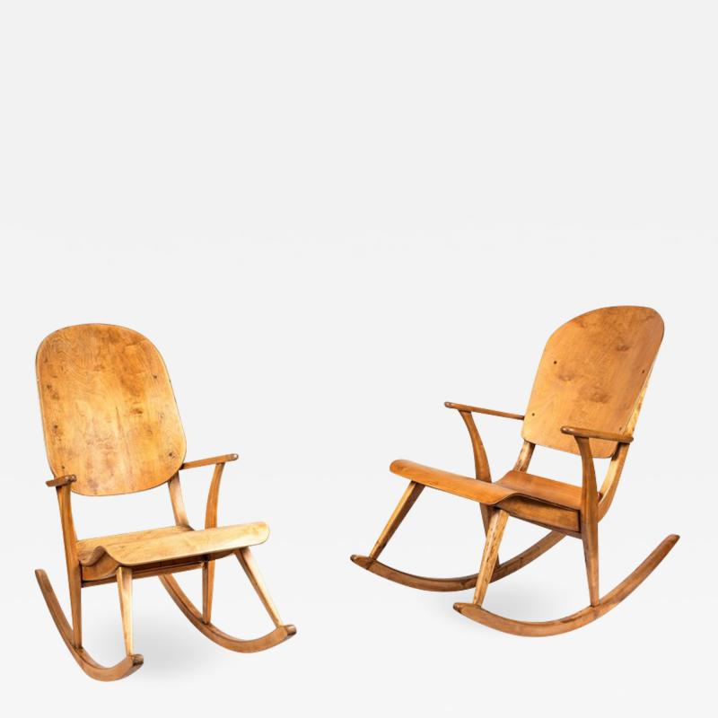 Ilmari Tapiovaara Rare Pair of 1940s Rocking Chairs by Ilmari Tapiovaara