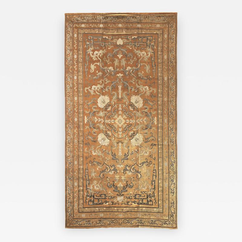 Imperial Cut Silk Velvet and Metal Thread Kang Carpet