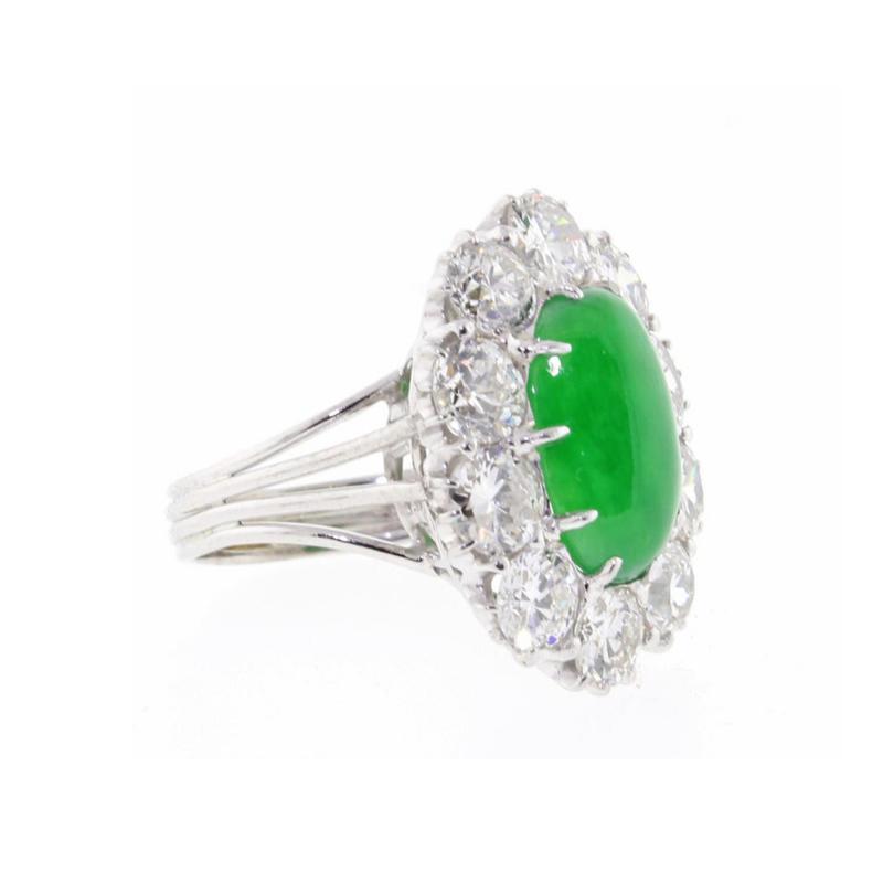 Imperial Jadeite Jade and Diamond Ring
