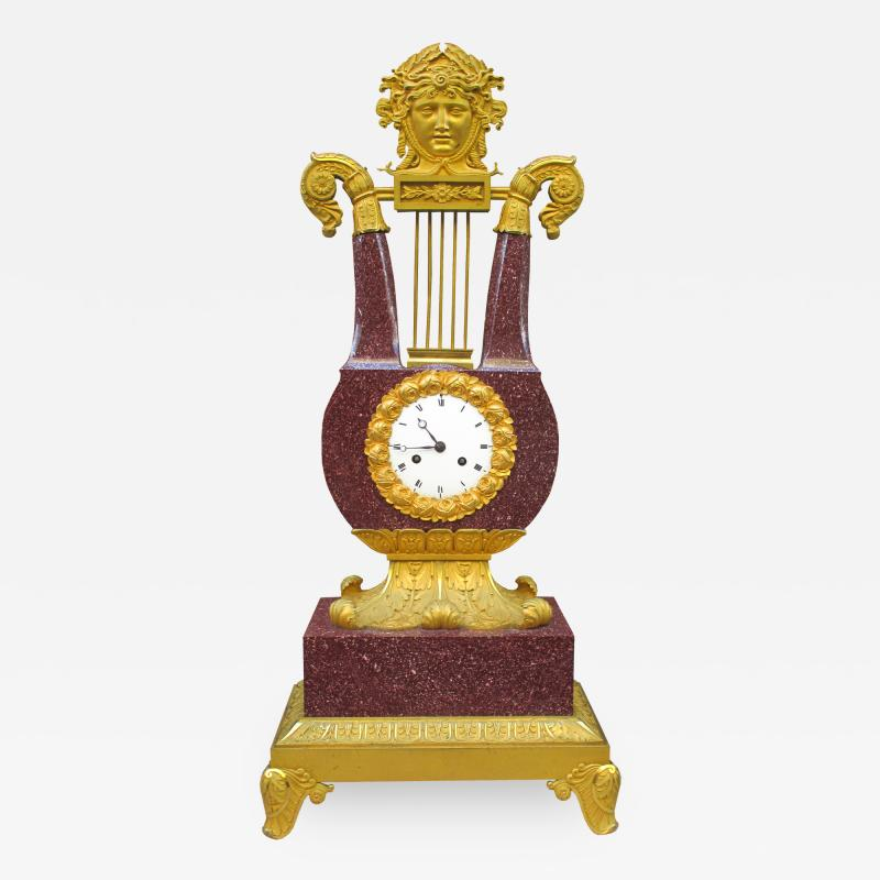 Important Charles X Imperial Porphyry Lyre Clock