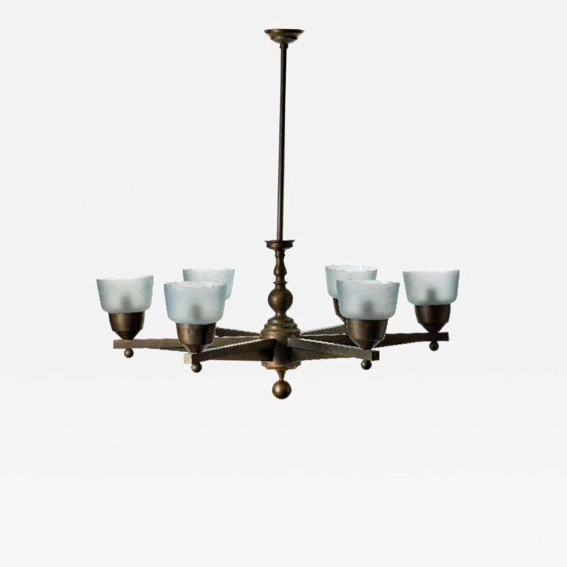 Important Large Ceiling Light in Bronze and Murano Glass