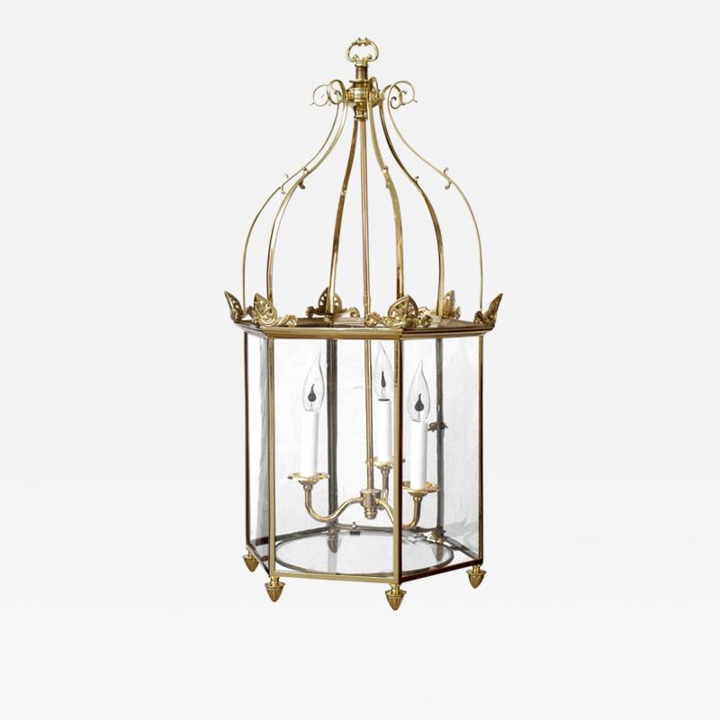 Important Regency Brass and Glass Lantern