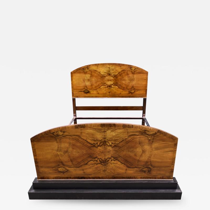 Impressive Art Deco Walnut Double Bed Circa 1930s