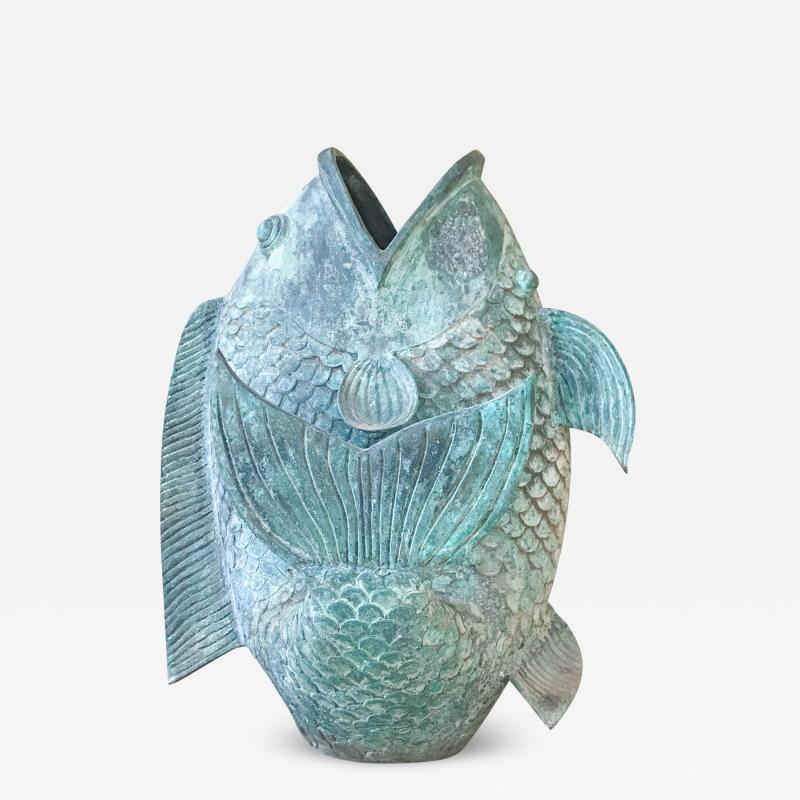 Impressive Koi Fish Sculpture in Solid Bronze Lovely Legendary Japanese Art