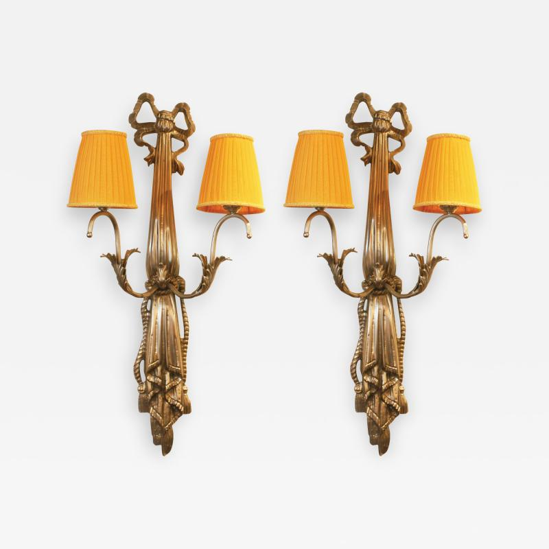 Impressive Pair of French Art Deco Wall Lights