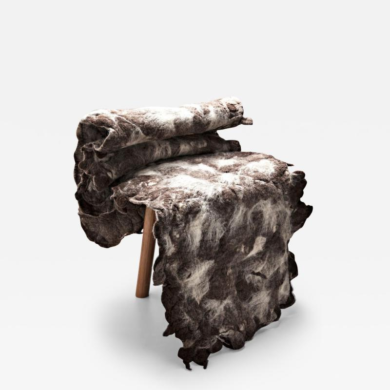 In s Schertel Tapera Little Chair in Wool and Tauari Wood by In s Schertel Brazil 2019