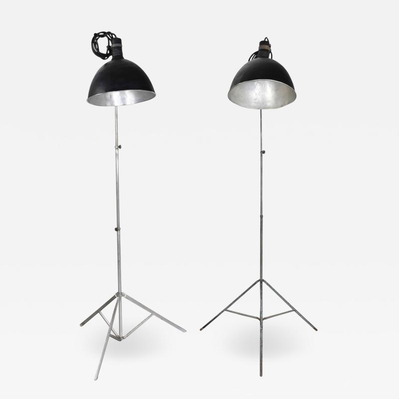 Industrial pair of photographers floor lights tripod base aluminum steel