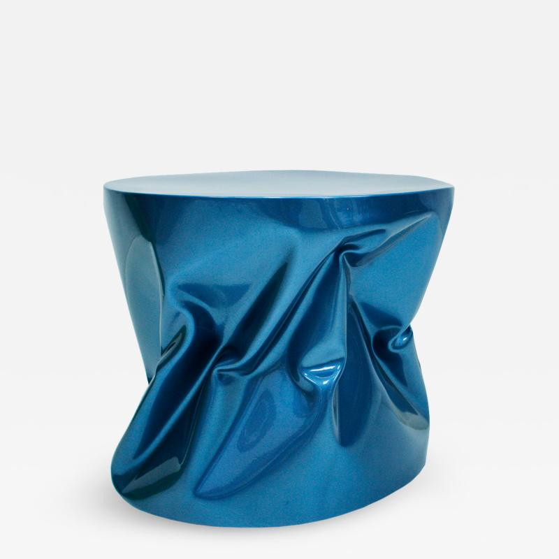 Ines Benavides Contemporary Modern Sculptural Metal Lacquered Blue Seat Side Table